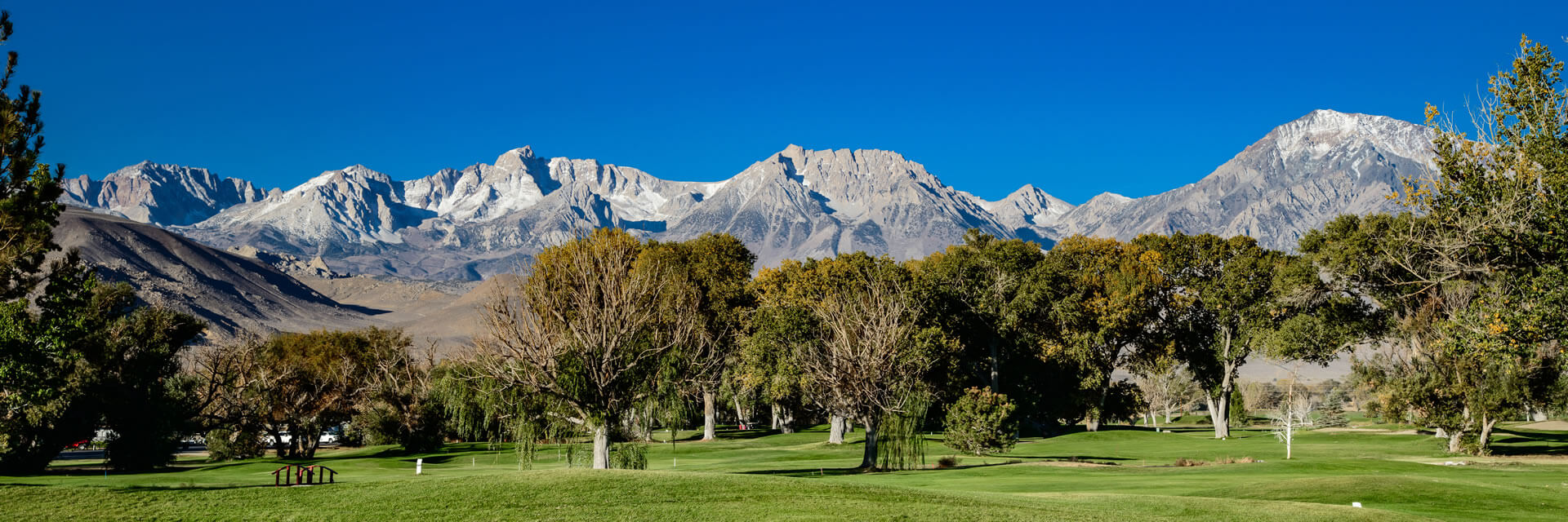 Bishop Country Club golf course with the Sierra Nevada mountain range