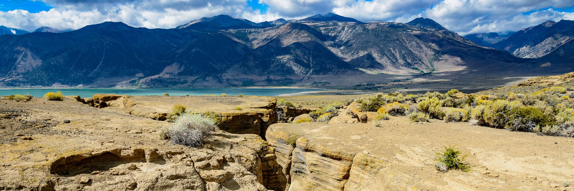 Black Point fissure with Mono Lake and the Sierra Nevada mountains