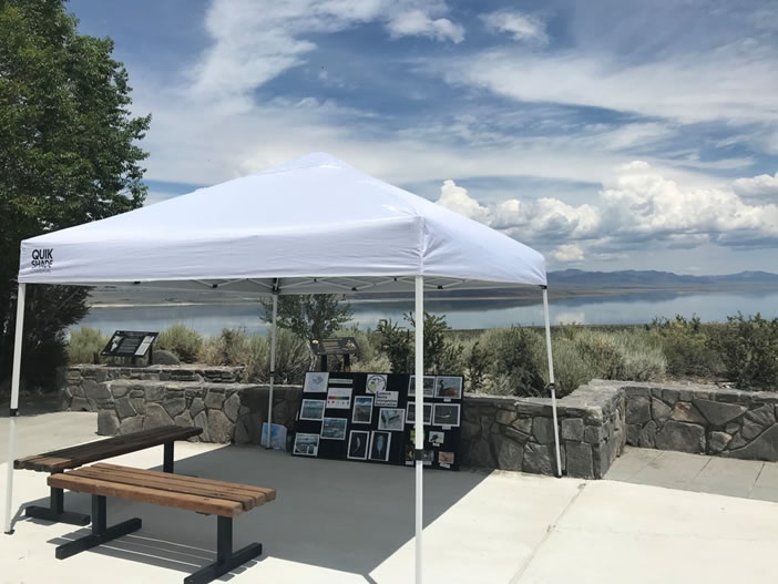 Mono Basin Basin Scenic AreaVisitor Center shade structure on the patio overlooking Mono Lake